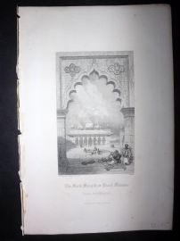 After David Roberts 1860 Antique Print. Moti Musjid, or Pearl Mosque. Agra India